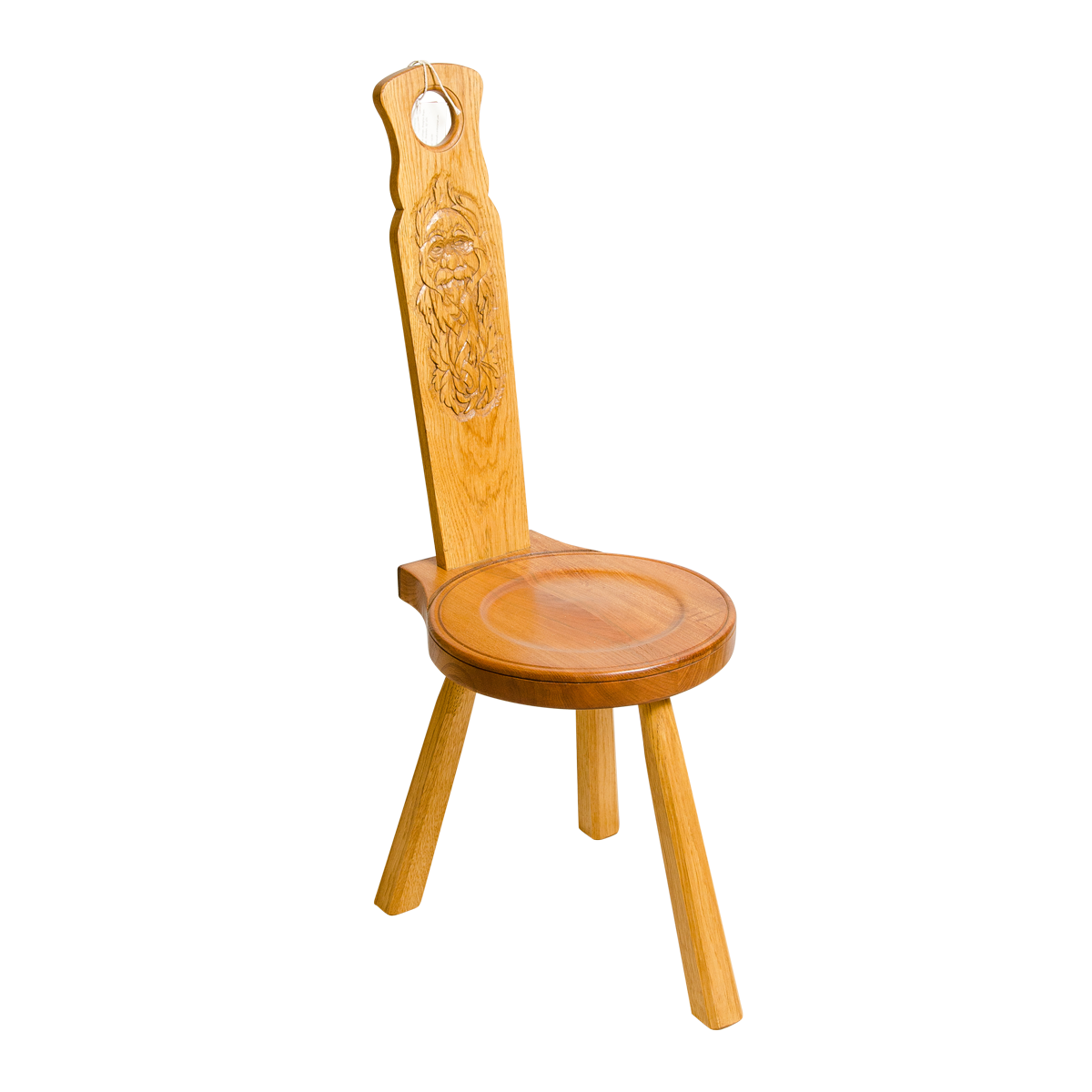 Spinning Chair With Wood Spirit Carving
