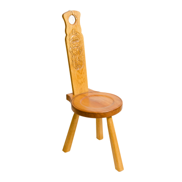 Spinning Chair with 'Wood Spirit' carving