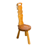 Small Spinning Chair with Carved Motif