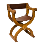 Traditional Handmade Oak and Leather Curule Chair